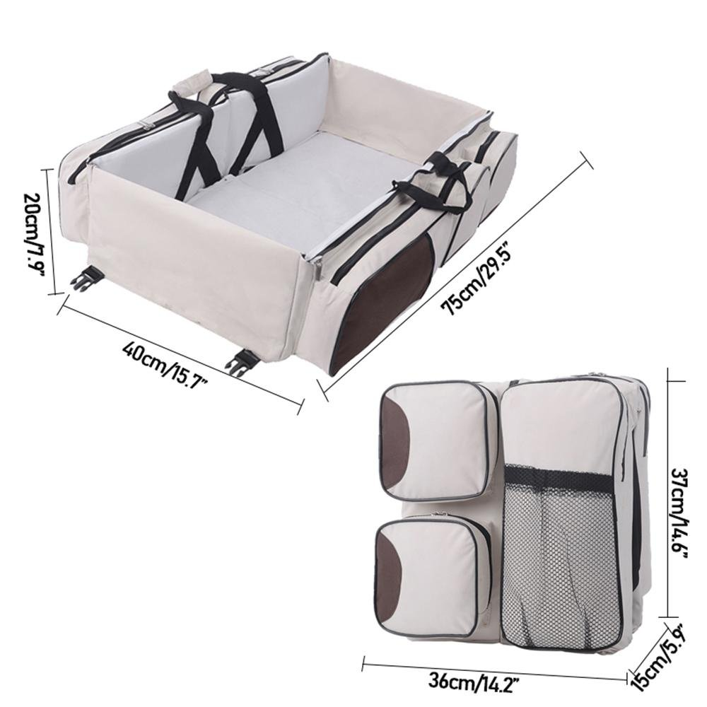 KOBWA Multifunctional 3 in 1 Baby Changing Bags Travel Bassinet Diaper Bed Portable Foldable Tote Bag Nappy Changing Bag Baby Crib Carrycot for 0-12 Months
