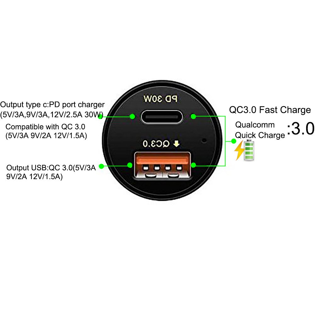 Aroc Quick Charge 3.0, USB tipo C, adattatore per auto caricabatteria da auto 48W QC 3.0USB-A Port + porta USB di tipo C PD 2.0per Iphonex/8/7/6s/6s Plus Samsung Galaxy Huawei Google pixel/XL MacBook Pro (nero)