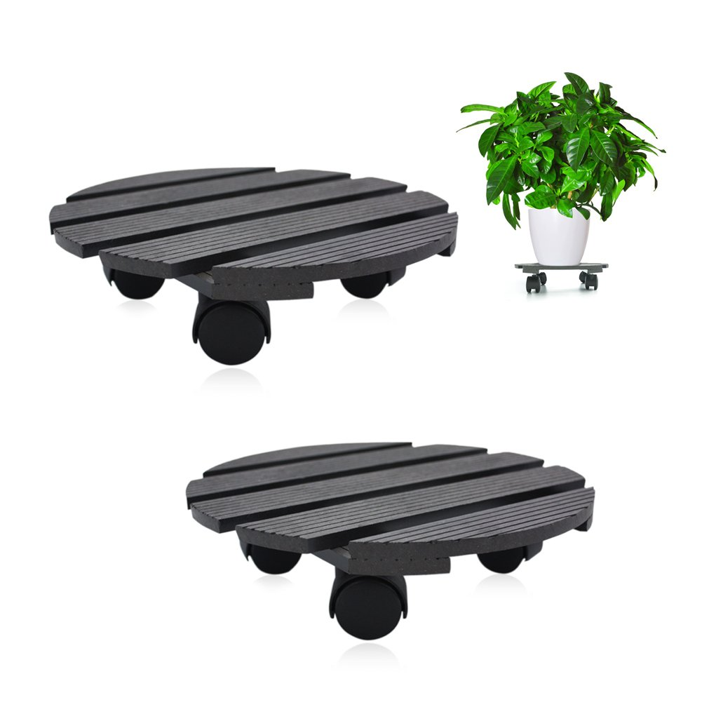 CERBIOR Plant Caddy Heavy Duty Plant Stand with Wheels Indoor/Outdoor holds up to 12 inches and 80 lbs Strong and Sturdy Design (Round, Charcoal) 2Pack