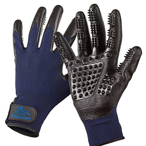Pet Grooming Gloves - Left & Right - Enhanced Five Finger Design - for Cats, Dogs & Horses - Long & Short Fur - Gentle De-Shedding Brush - Your Pet Will Love It