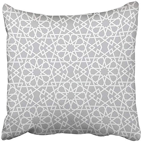Throw Pillow Cover Square 18x18 Inches Arabic with in Style Star Moroccan Arab Arabian Asian Continue Continued Polyester Decor Hidden Zipper Print On Pillowcases by Starosa