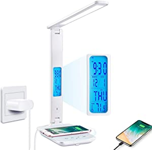 Desk Lamp, LED Desk Lamp with Wireless Charger, USB Charging Port, Adjustable, Foldable ​Table Lamp with Clock, Alarm, Date, Temperature, 5 Levels of Dimmable ​Lighting​, Office Lamp with Adapter