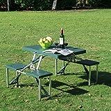 GHP Green Portable Outdoor Folding Camping/Picnic Table w Case/Deep Seats