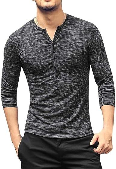 Camisa De Hombre con En Cuello De V Manga Modernas Casual Larga Tops Blusas Tops Camisa De Blusa Camisa De Corte Slim Tops De Color Sólido De Moda De Otoño: Amazon.es: Ropa