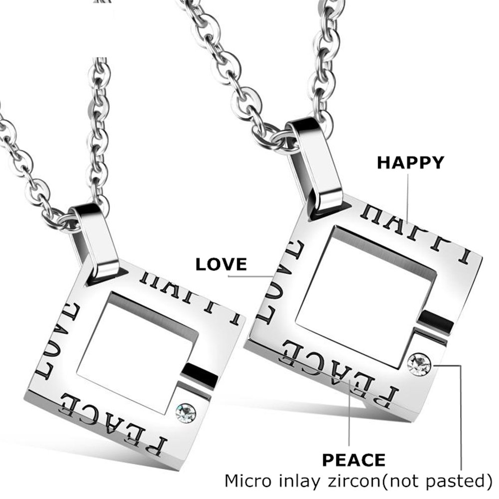 237f0461de JewelBeauty Titanium Stainless Steel His & Hers PEACE HAPPY LOVE Couple  Pendant Necklace Simple Korean Style Silvery Square Frame Shape Matching  Set ...