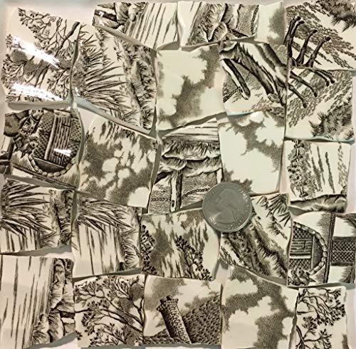 Mosaic Art & Crafts Supply ~ Brown & White Vintage Transferware Rim Tiles (B924)