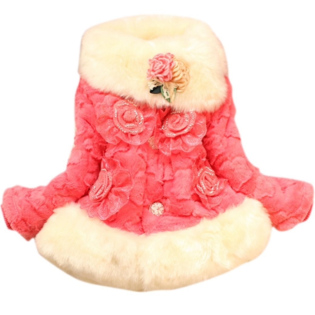 Tangda Baby Girl Toddlers Winter Coat Faux Fur Wrap Surcoat Size L - Melon Red