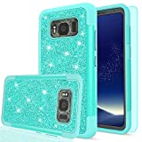 Galaxy S8 Active Glitter Case with HD Screen Protector,LeYi Luxury Bling Cute Girls Women Design [PC Silicone Leather] Heavy Duty Protective Phone Case for Samsung Galaxy S8 Active TP Mint