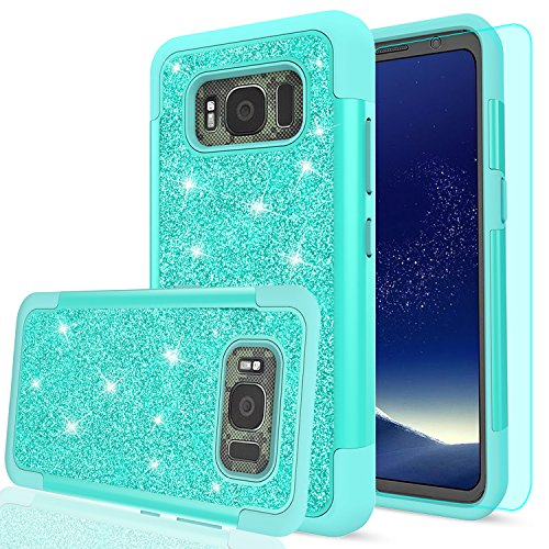 Galaxy S8 Active Glitter Case (Do Not Fit S8) with HD Screen Protector, LeYi Bling Cute Girls Women [PC Silicone Leather] Heavy Duty Protective Phone Case for Samsung Galaxy S8 Active TP Mint