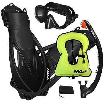 Amazon.com: Promate máscara de snorkel aletas juego de ...