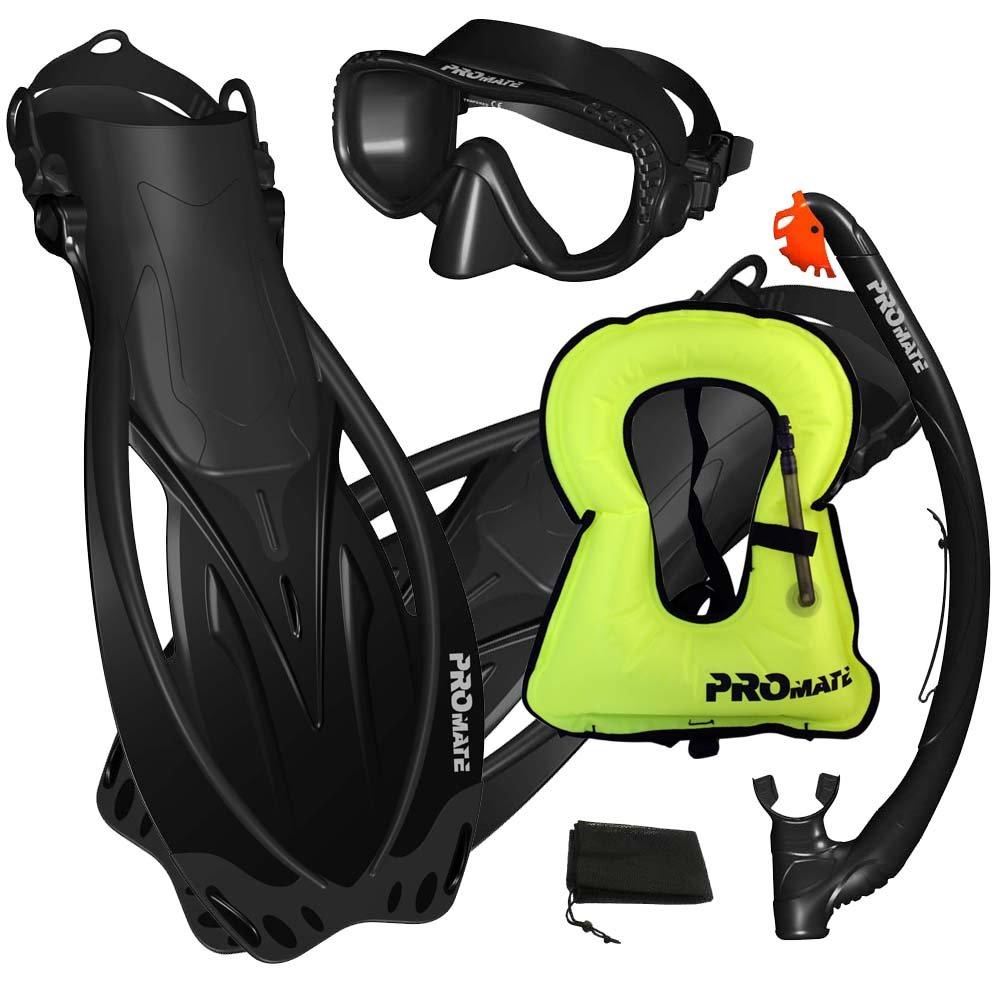 Promate Snorkeling Vest Jacket Mask Fins Dry Snorkel Gear Set, Black, SM