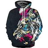 OYABEAUTYE Big Boys 3D Print Hoodies Unisex Teens Pullover Hooded Sweatshirt(Large/X-Large,Lion Paint)