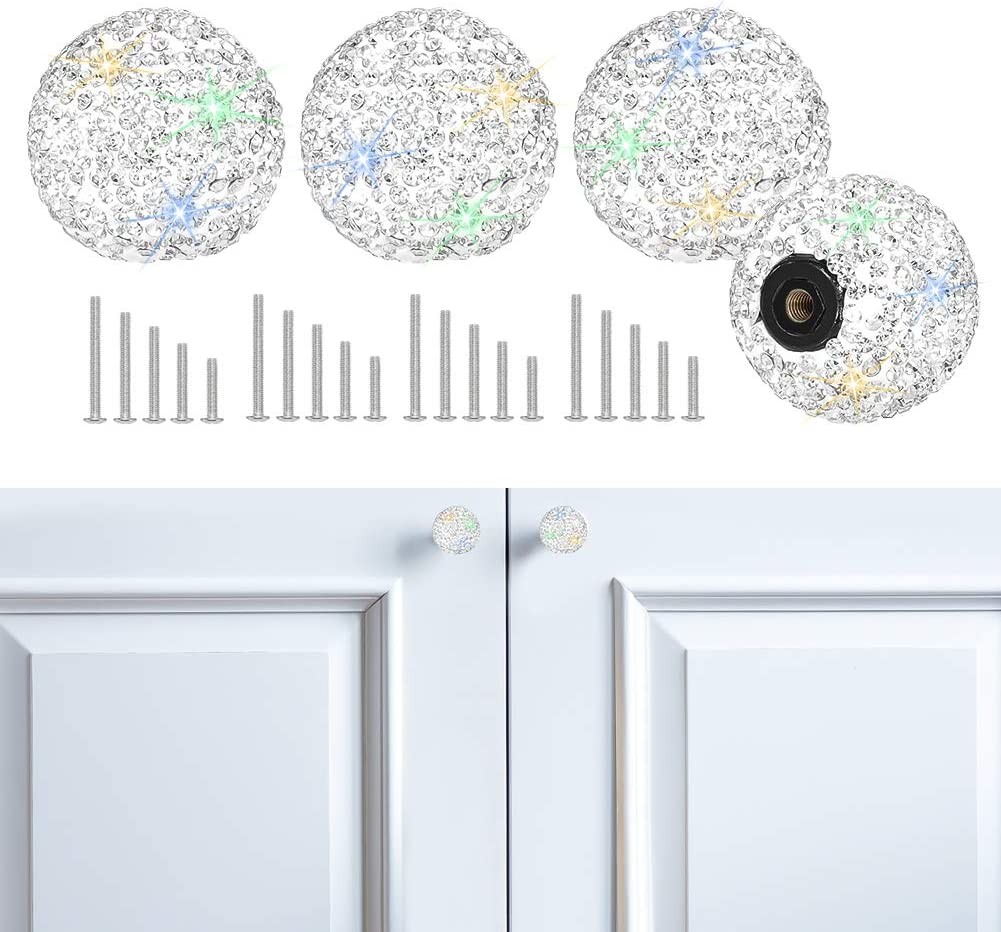 SAVORI Cabinet Knob Crystal Dresser Cupboard Drawer Wardrobe Door Knobs Bling Round Pull Handle with Screws for Home Kitchen Bathroom Office 4PCS (White)