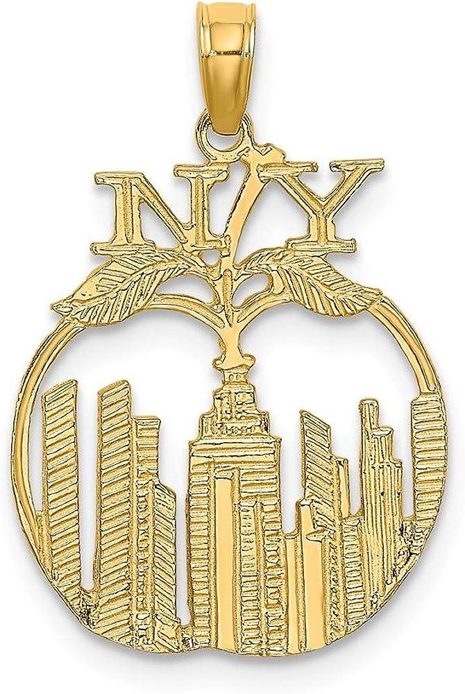 14k Yellow Gold New York Skyline in Apple Charm for Women