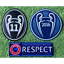 Real Madrid FC 2016-2017 Champions League Patches Uefa Champions Ball 2016, Respect + Trophy 11 of Honor Football Patch Set Soccer Jersey Badges