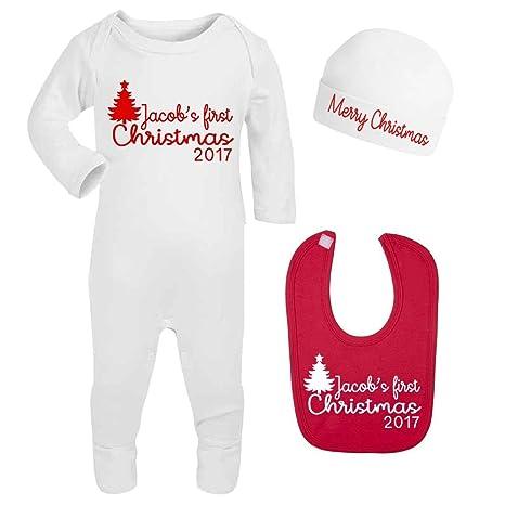 Personalizable de primer Navidad 2017 Pelele de bebé gorro y babero bebés primera Navidad regalos personalizado