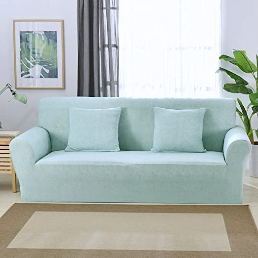Funda elástica protectora y antideslizante de poliéster para sillones de 1, 2, 3 o 4 plazas, azul claro, 3 Seater:195-230cm