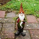 Gardens2you Monty le nain de jardin joyeux avec son bonnet orange Décoration de jardin en résine artificielle