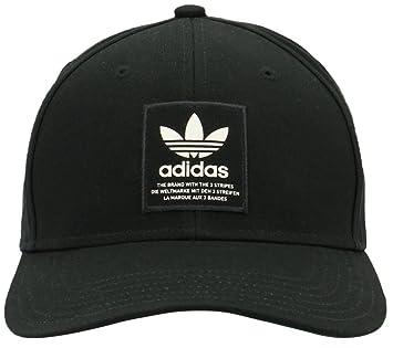 dc2a02b6ea6cd8 adidas Men's Originals Trefoil Patch Snapback Structured Cap, Black/Chalk  White, One Size
