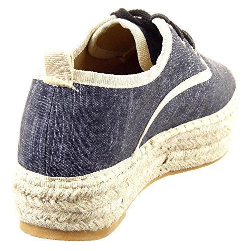 Sopily - Scarpe da Moda Espadrillas formatori Zeppe alla caviglia donna Tacco a blocco 3.5 CM - Nero
