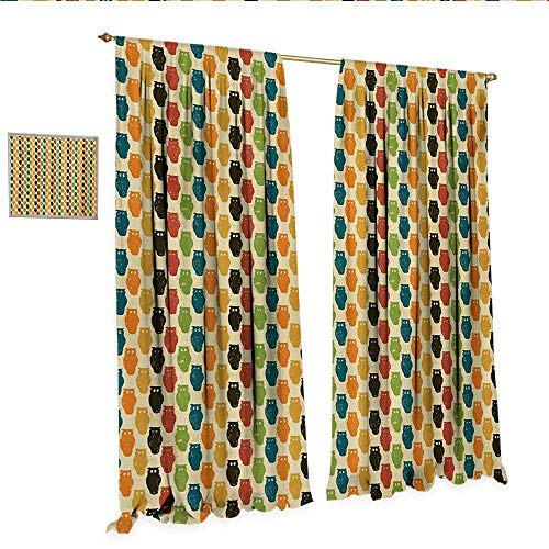 Owls Drapes for Living Room Retro Styled Colorful Animal Silhouettes with Grunge Display Halloween Inspirations Window Curtain Drape W72 x L84 Multicolor.jpg