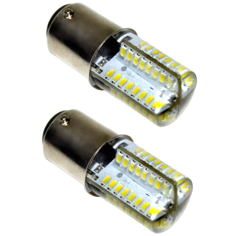 HQRP 2-Pack 110V LED Light Bulbs Cool White for Bernina 814/815 / 816/817 / 818/819 / 840/841 Sewing Machine plus HQRP Coaster