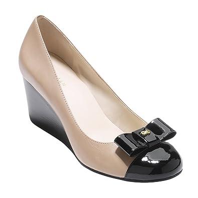 7e0d5d4af Amazon.com | Cole Haan Womens Elsie Bow Wedge 65mm 10.5 Maple Sugar  Leather-Black Patent | Platforms & Wedges