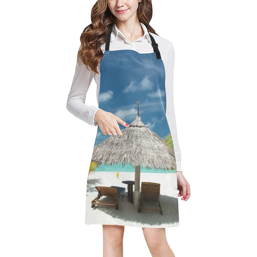 Sea Beach Ocean View Adjustable Kitchen Chef Bib Apron with Pocket for Cooking, Baking, Crafting, Gardening