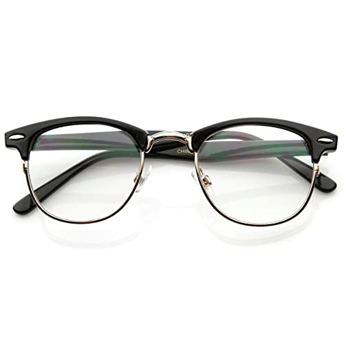 3d26266b32 zeroUV - Optical Quality Horned Rim Clear Lens RX able Half Frame Horn  Rimmed Glasses