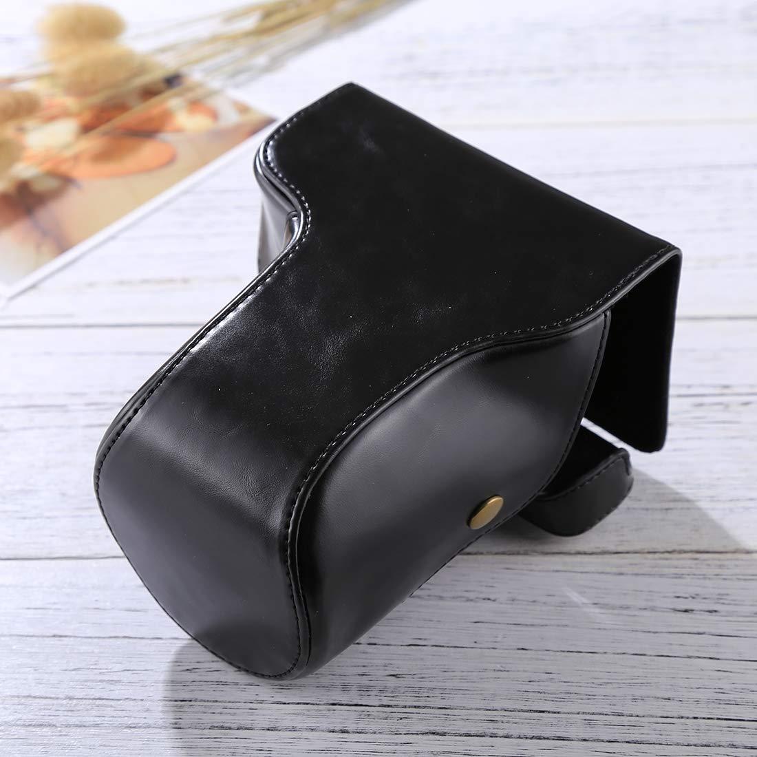 ファッション 便利 耐久性 フルボディ カメラ PUレザー ケースバッグ ストラップ付き 富士フイルム X-E3 (18-55mm / XF 23mm レンズ) かわいい (カラー: ブラック) B07M7TX45V