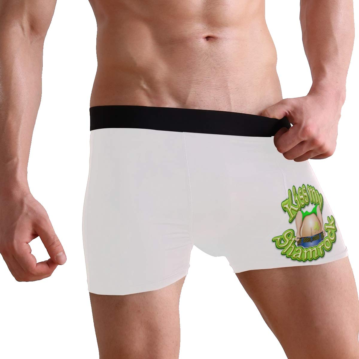 ZZKKO Kiss My Shomrock Ass Mens Boxer Briefs Underwear Breathable Stretch Boxer Trunk with Pouch S-XL