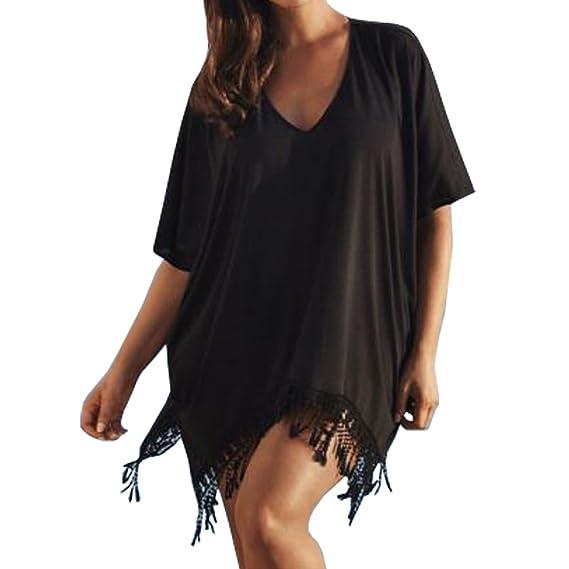 6ed933ba7f Vintage Flower® Women's Mini Dress Summer Dress Beach Bikini Cover Up  Swimwear Women Blouses Top
