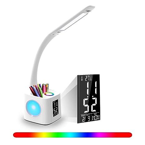 Lámpara de Escritorio YOUKOYI LED con puerto de Carga USB para Estudio, 3 Niveles Lámpara de Escritorio Regulable Con Reloj, Luz de Noche Color, ...