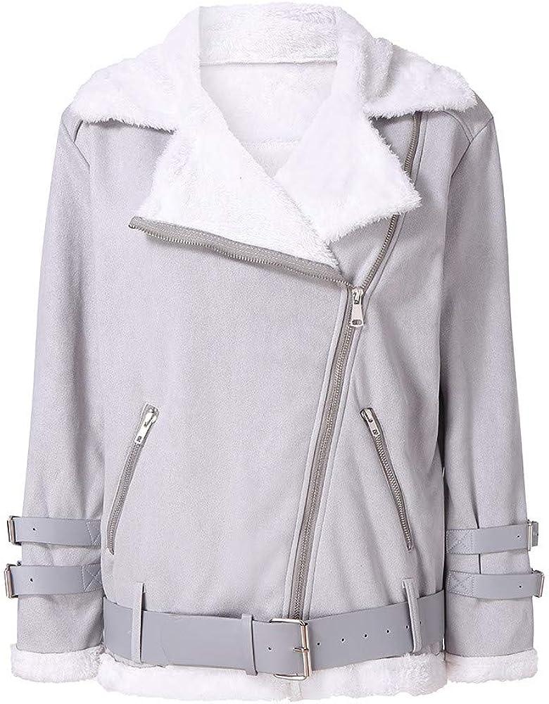 XQS Womens Outwear Faux Suede Thicken Zipper Winter Jacket Coat