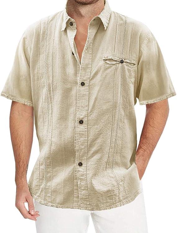 Pengfei Camisa de algodón de Lino para Hombre, Estilo Cubano, Informal, con Botones, Manga Larga, Holgada