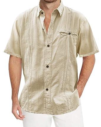 7c5c80c52b27 Pengfei Mens Loose Fit Cuban Camp Guayabera Linen Shirts Casual Button Down  Beach Shirts at Amazon Men s Clothing store