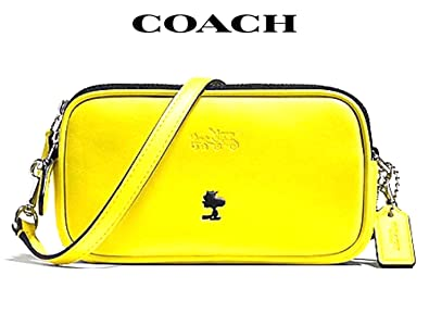 611d63e3c5bc Image Unavailable. Image not available for. Color  Coach Peanuts X Snoopy  Crossbody Pouch Bag Yellow Leather Limited Ed