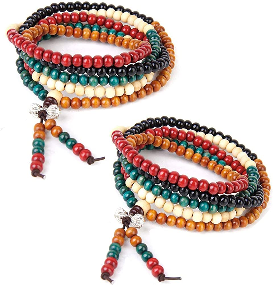 Hantier 2 Pack 6mm Multicolor Tibetano 216 Cuentas Buda Budista Collar Pulsera, Pulsera Budista de Los Granos del Rezo del Sándalo, Meditación Collar de Piedra