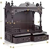 """Aakaar Idols & Temples, Wall Hanging, Handcrafted Wooden Temple/Mandap/Pooja Mandir/Home Temple Without Doors - 24"""" VO Without Dome for Home & Office"""