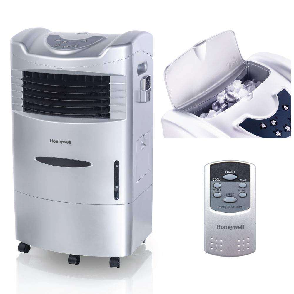 Honeywell 470 CFMIndoor Portable Evaporative Cooler with Fan & Humidifier, Carbon Dust Filter & Remote Control, CL201AE