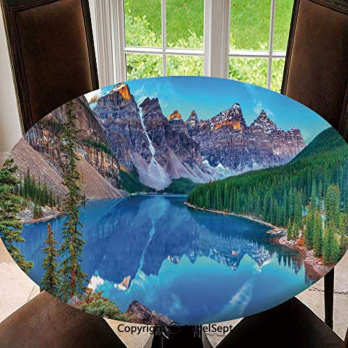 SfeatruAngel Polyester Fabric Elastic Edged Tablecloth,Moraine Lake Sunrise in Banff National Park Clear Sky Reflection Colorful Picture Soil Resistant Holiday Tablecloth, 47 Inch Round,Blue Green
