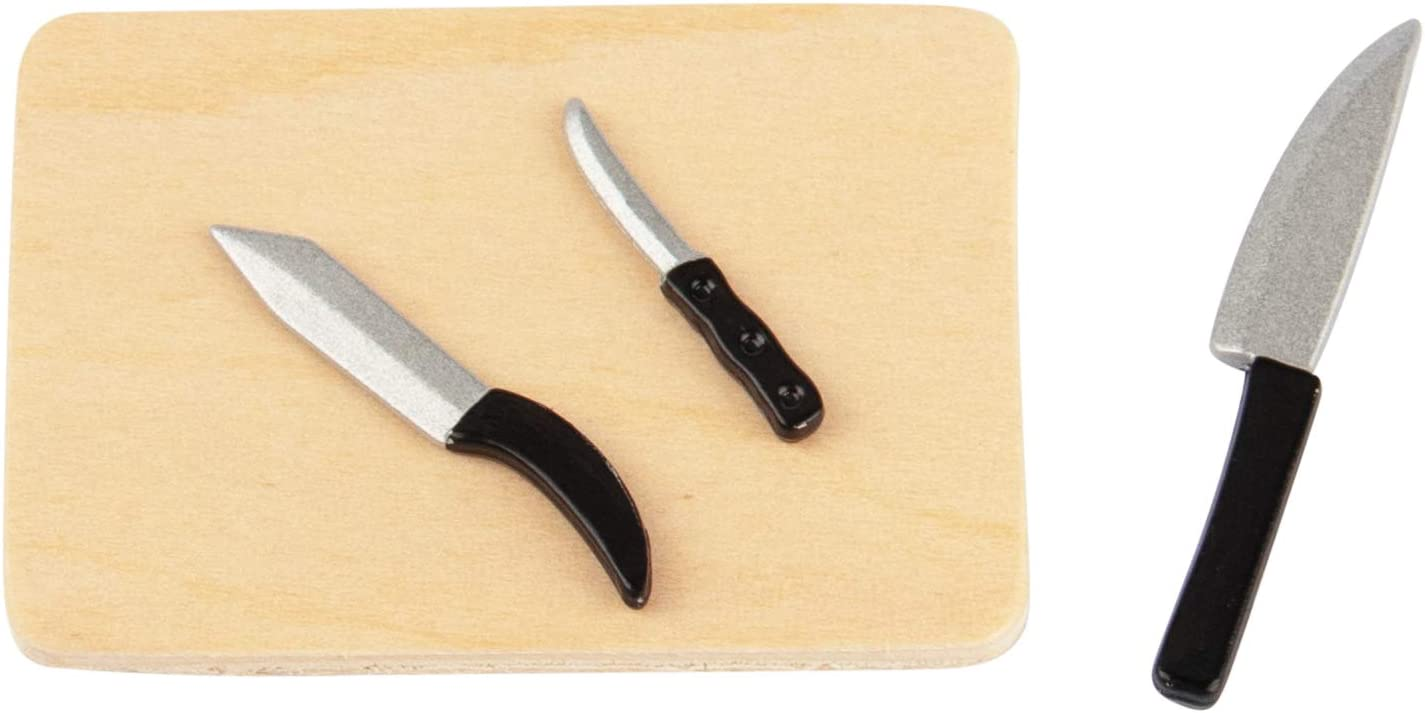 AUEAR, 1 Pack Set 1:12 Dollhouse Miniature Furniture Kitchen Knives and Chopping Board Mini Decoration Accessories Scene Model (1pcs Chopping Board and 3pcs Different Size Knives)