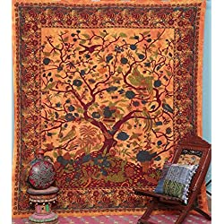 Handicrunch Orange Indian Tree of Life Bedspread Blossom bird Tapestry