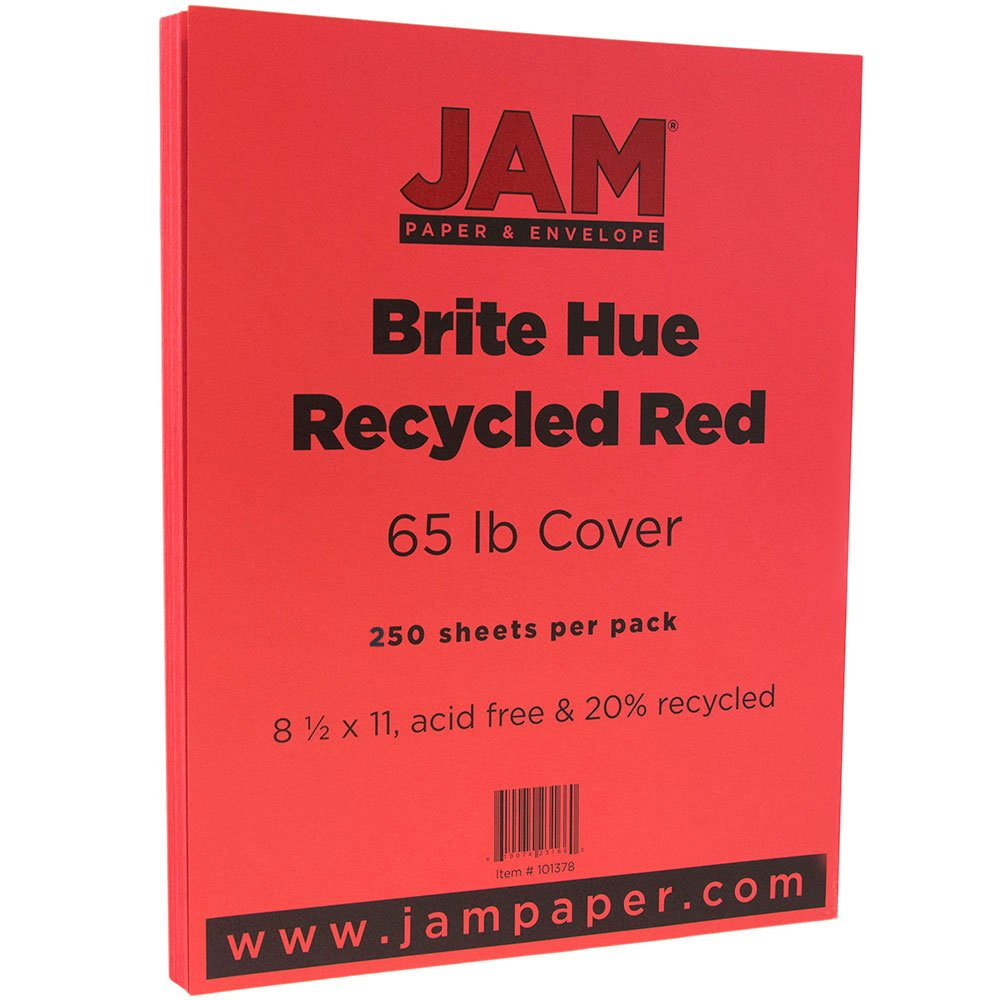 JAM PAPER Colored 65lb Cardstock - 8.5 x 11 Coverstock - Red Recycled - 250 Sheets/Ream