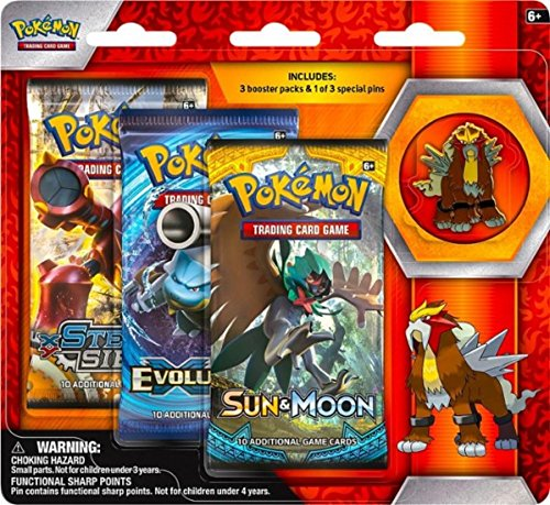 Pokemon TCG: Sun & Moon Guardians Rising Blister Pack Collectible Trading Card Set Includes 3 Booster Packs of Random Cards and 1 Entei Collectors Pin Authentic Pokemon Expansion Packs