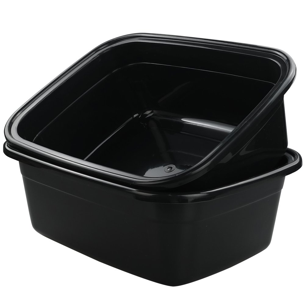 Idomy Rectangle Plastic Black Washing Basin/Tub, Pack of 2 (18 Quart)