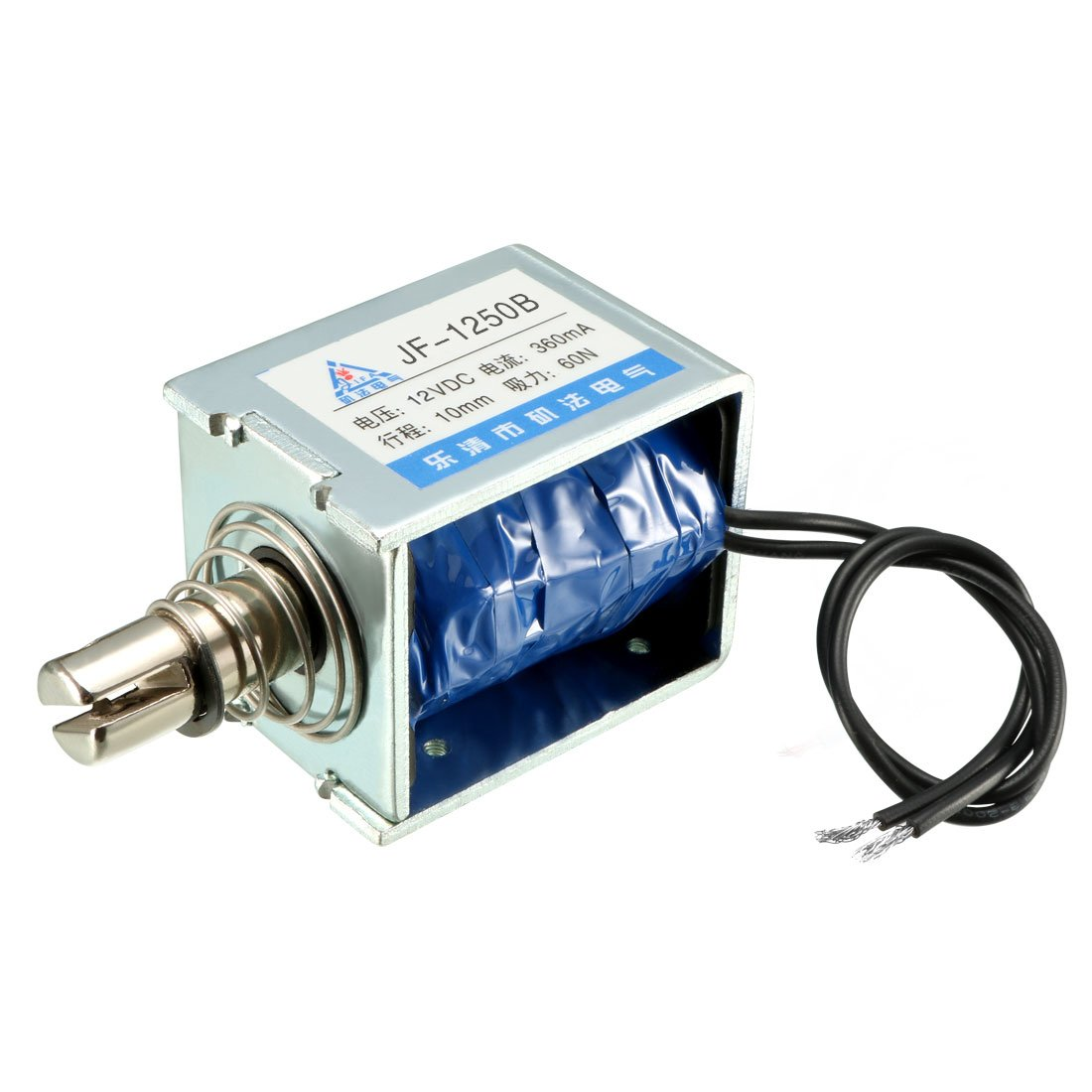 uxcell JF-1250B DC 12V 360mA 60N 10mm Pull Push Type Open Frame Linear Motion Solenoid Electromagnet