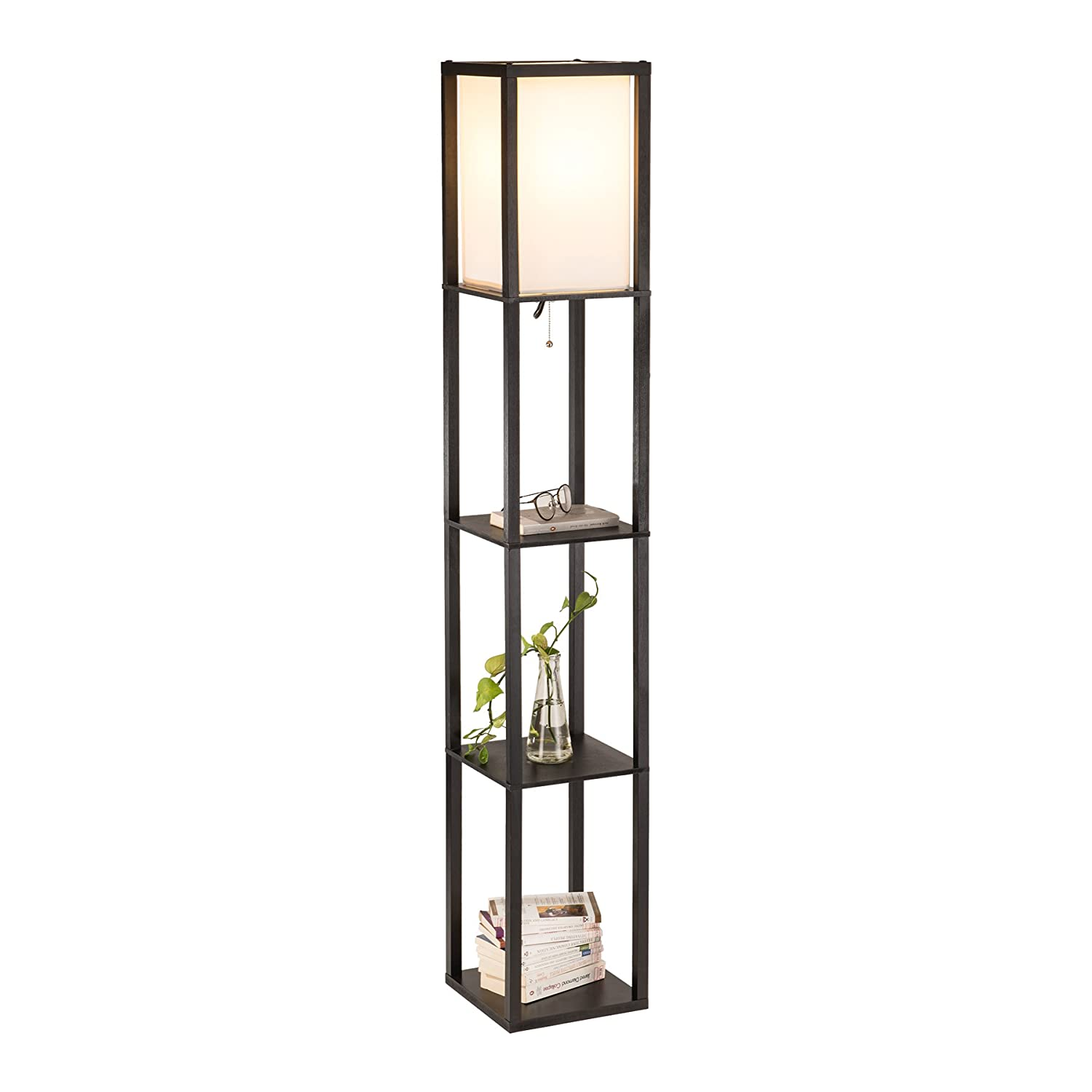 CO-Z Floor Lamp with Shelves, Etagere Floor Lamp, Modern Standing Lamp with 3 Wood Storage Display Shelves for Corner Bedroom Bedside Living Room, Simple Stand Up Lamp with Soft Diffused Uplight