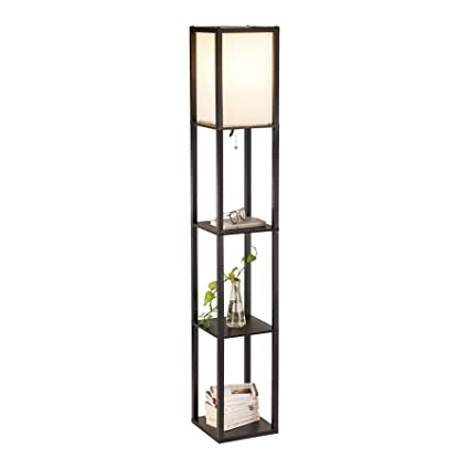 pretty nice cc512 2c2df CO-Z Floor Lamp, Etagere Lamp with Shelves, Standing Lamp with 3 Wood  Display Storage Shelves for Bedroom Bedside Corner Living Room, Simple  Modern ...