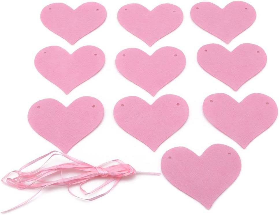 LnLyin Felt Heart Garlands Heart Hanging Banner Bunting for Valentines Day Wedding Party Baby Shower Garland Decoration,Blue,296cm
